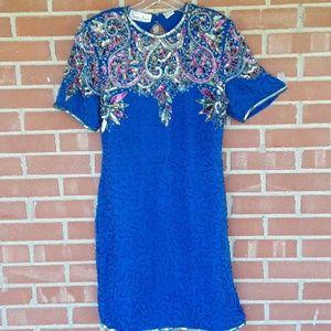 Vintage Laurence Kazar New York silk dress, sz L